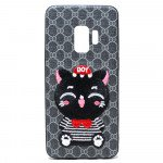 Wholesale Galaxy S9 Design Cloth Stitch Hybrid Case (Gray Cat)
