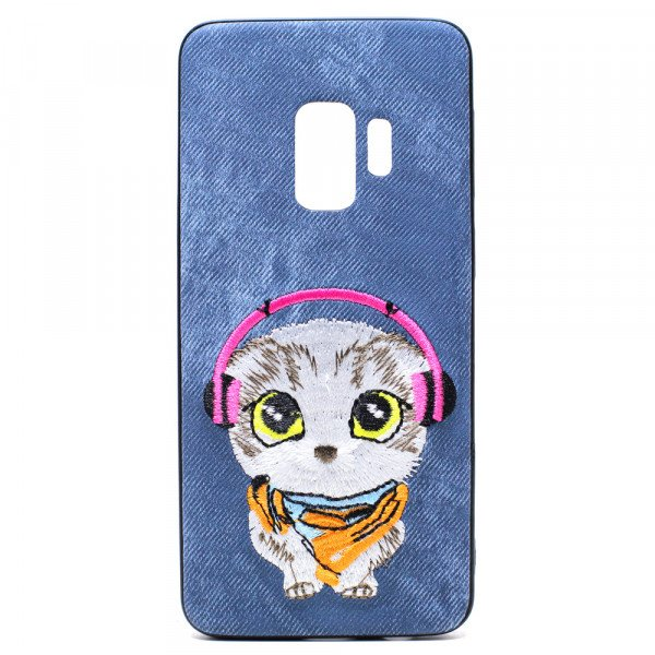 Wholesale Galaxy S9 Design Cloth Stitch Hybrid Case (Blue Cat)