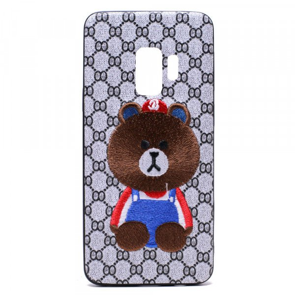 Wholesale Galaxy S9 Design Cloth Stitch Hybrid Case (Brown Bear)