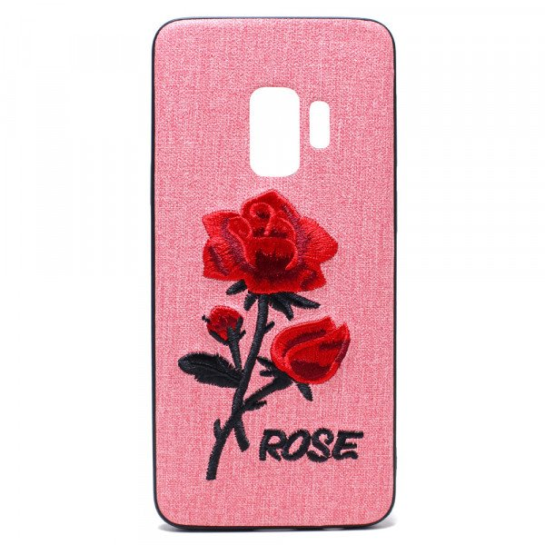Wholesale Galaxy S9 Design Cloth Stitch Hybrid Case (Pink Rose)