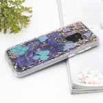 Galaxy S9+ (Plus) Luxury Glitter Dried Natural Flower Petal Clear Hybrid Case (Bronze Blue)