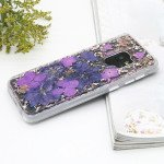 Galaxy S9+ (Plus) Luxury Glitter Dried Natural Flower Petal Clear Hybrid Case (Rose Gold Purple)