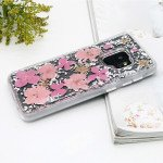 Galaxy S9+ (Plus) Luxury Glitter Dried Natural Flower Petal Clear Hybrid Case (Silver Pink)