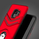 Wholesale Galaxy S9 Metal Hook Carry Stand Hybrid Case (Red)
