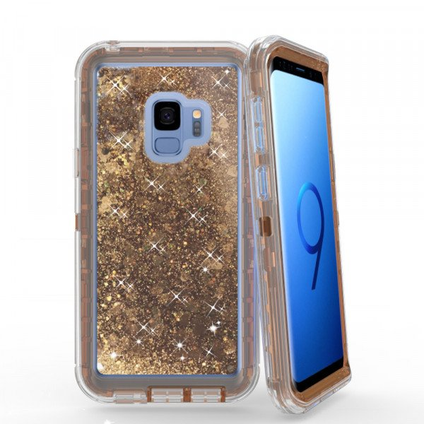Wholesale Galaxy S9 Star Dust Liquid Clear Armor Defender Case (Gold)