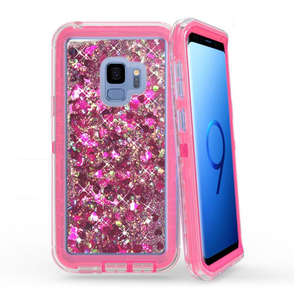 separation shoes e4b06 9d9b9 Wholesale Galaxy S9 Star Dust Liquid Clear Armor Defender Case (Hot Pink)
