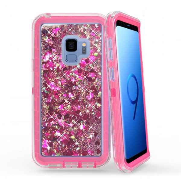 Wholesale Galaxy S9 Star Dust Liquid Clear Armor Defender Case (Hot Pink)