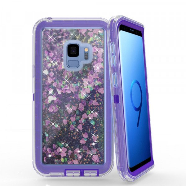 Wholesale Galaxy S9 Star Dust Liquid Clear Armor Defender Case (Purple)