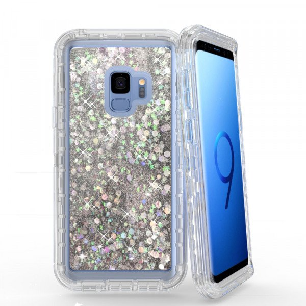 Wholesale Galaxy S9 Star Dust Liquid Clear Armor Defender Case (Silver)