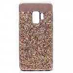 Galaxy S9 Sparkling Glitter Chrome Fancy Case with Metal Plate (Gold)