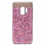 Wholesale Galaxy S9 Sparkling Glitter Chrome Fancy Case with Metal Plate (Pink)