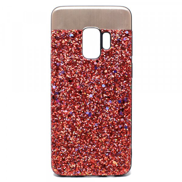 Wholesale Galaxy S9 Sparkling Glitter Chrome Fancy Case with Metal Plate (Red)