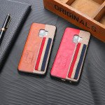 Wholesale Galaxy S9 Striped Hand Strap Grip Holder PU Leather Case (Red)