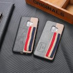 Wholesale Galaxy S9 Striped Hand Strap Grip Holder PU Leather Case (Gray)