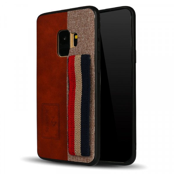 Wholesale Galaxy S9 Striped Hand Strap Grip Holder PU Leather Case (Brown)