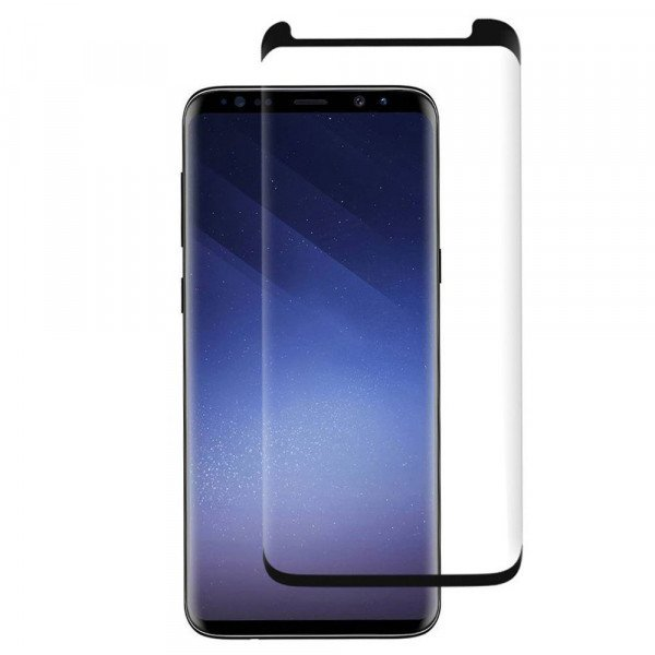 Wholesale Galaxy S9+ (Plus) / S8+ (Plus) Tempered Glass Full Screen Protector Case Friendly (Glass Black)
