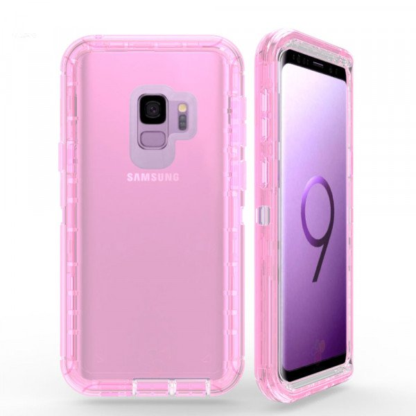Wholesale Galaxy S9 Transparent Armor Defender Case (Pink)