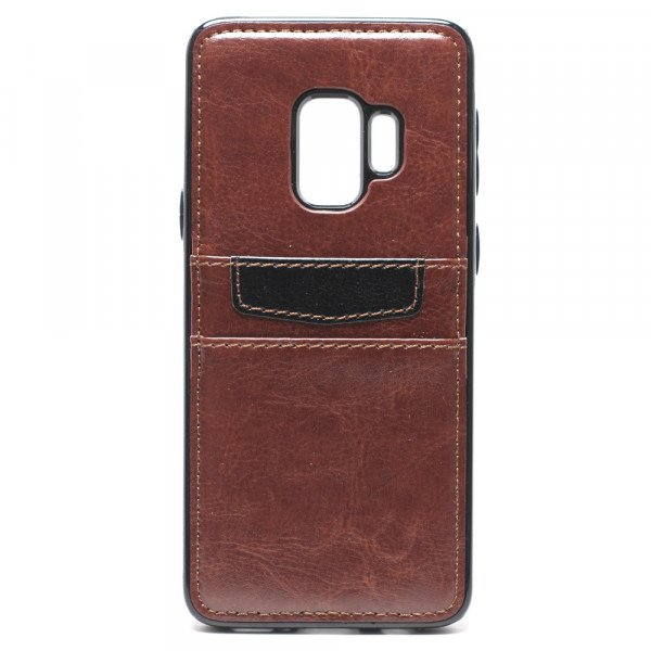 Wholesale Galaxy S9 Leather Style Credit Card Case (Brown)