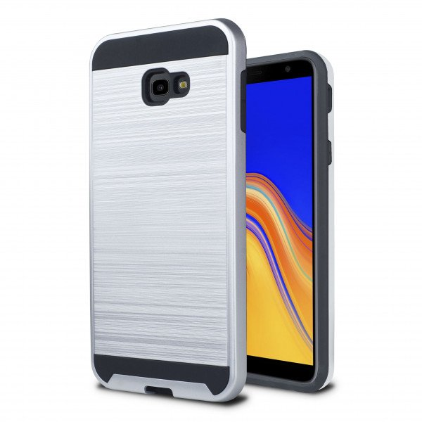 Wholesale Samsung Galaxy J4+ Plus J415 Armor Hybrid Case (Silver)