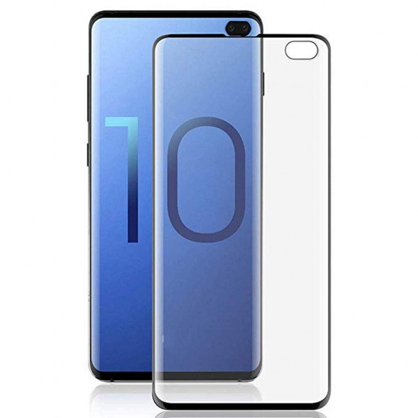 Wholesale Galaxy S10+ (Plus) Full Coverage PET Flexible Screen Protector - Case Friendly + Working Fingerprint (Black)
