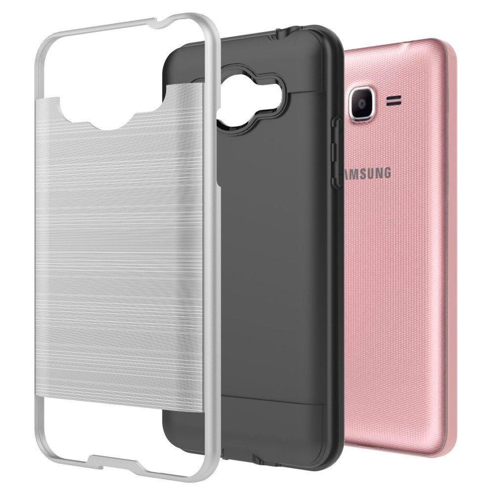 Wholesale Samsung Galaxy J2 Prime, Grand Prime Plus Armor Hybrid Case ( Silver)