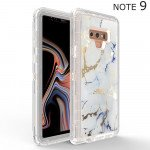 Galaxy Note 9 Marble Design Clear Armor Defender Case (White)
