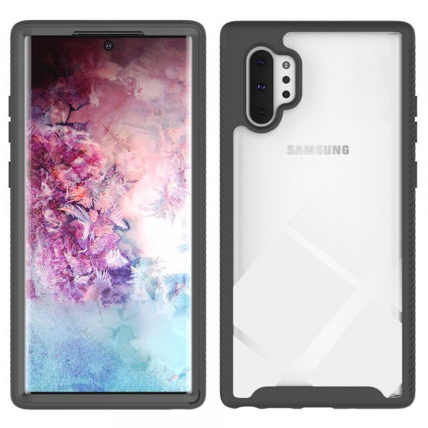 Wholesale Galaxy Note 10+ (Plus) Clear Dual Defense Hybrid Case (Black)
