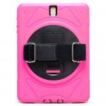 Wholesale Samsung Tab S3 9.7 (2017) Defender Case 360 Degree Swivel Kickstand Hand Grip Handle (Hot Pink)