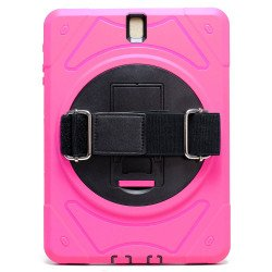 Samsung Tab S3 9.7 (2017) Defender Case 360 Degree Swivel Kickstand Hand Grip Handle (Hot Pink)