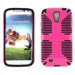 Wholesale Galaxy S4 Hybrid Grip Case (Hot Pink-Black)