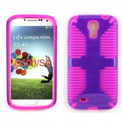 Galaxy S4 Hybrid Grip Case (Purple-Hot Pink)