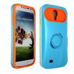 Wholesale Galaxy S4 Gummy Glow Case (Blue - Orange)