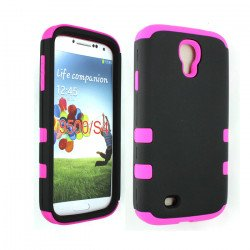 Galaxy S4 Hard Hybrid Case (Black - Pink)