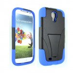 Wholesale Galaxy S4 Tri Stand Hybrid Case with Stand (Blue - Black)