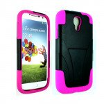 Wholesale Galaxy S4 Tri Stand Hybrid Case with Stand (Pink - Black)