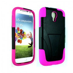 Galaxy S4 Tri Stand Hybrid Case with Stand (Pink - Black)