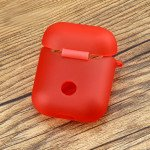 Wholesale Premium TPU Cover and Skin for Apple Airpods Charging Case with Hook Clip (Red)