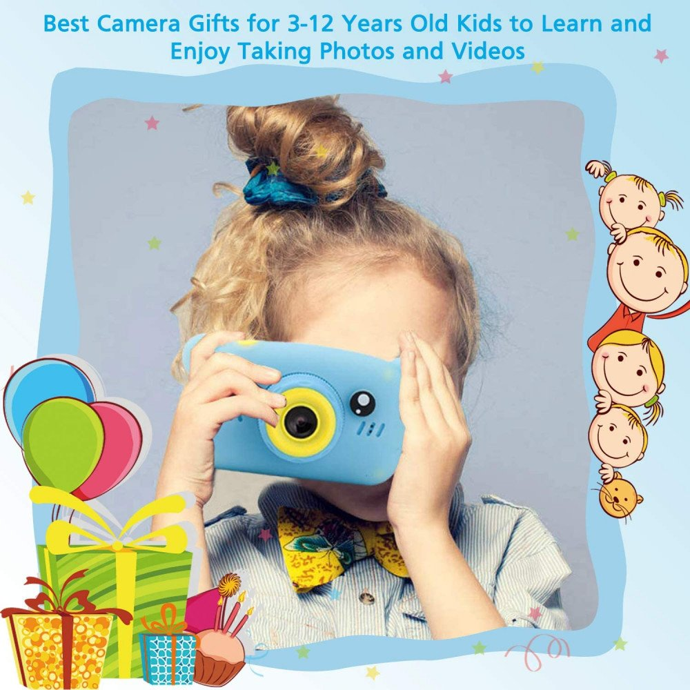Wholesale Best Gift Kids Children HD 1080P Digital Camera with Video Recorder Camcorder and Games Toys for Children Kid Party Outdoor and Indoor Play (Blue Bear)