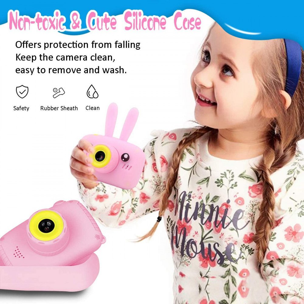 Wholesale Best Gift Kids Children HD 1080P Digital Camera with Video Recorder Camcorder and Games Toys for Children Kid Party Outdoor and Indoor Play (Pink Rabbit)