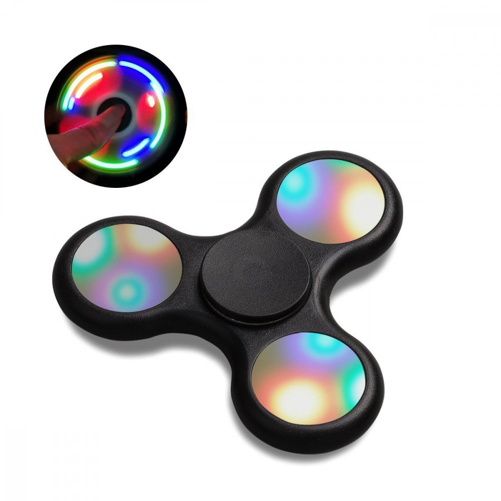 Wholesale LED Light Up Push Button Switch Fidget Spinner Stress Reducer Toy Mix Color