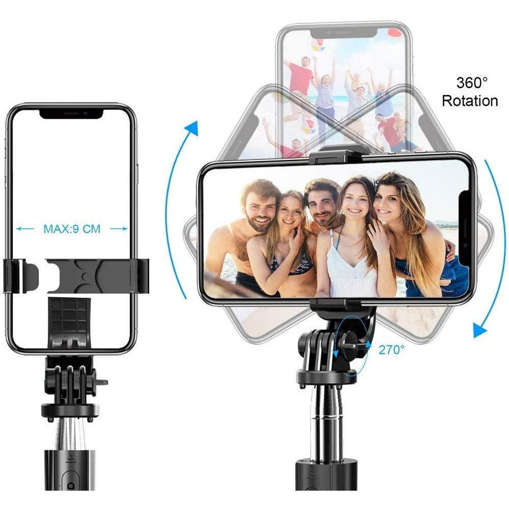 Wholesale Heavy Duty 3 in 1 Aluminum Wireless Bluetooth Extendable Selfie Stick with Tripod Stand (Black)
