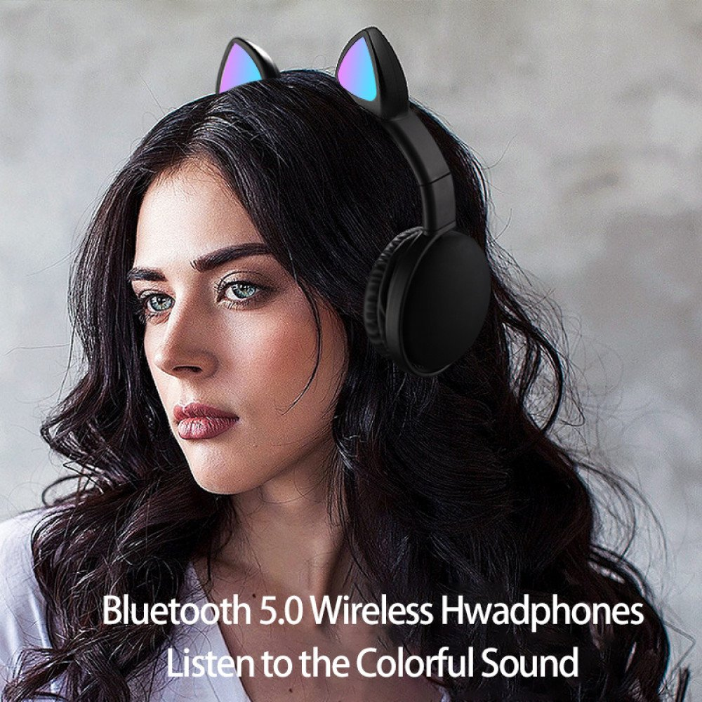 Wholesale Cat Ear Bluetooth Headphone Headset with Built in Mic, LED Luminous Light, Foldable, 3.5mm Aux In for Adults Children Home School (Hot Pink)