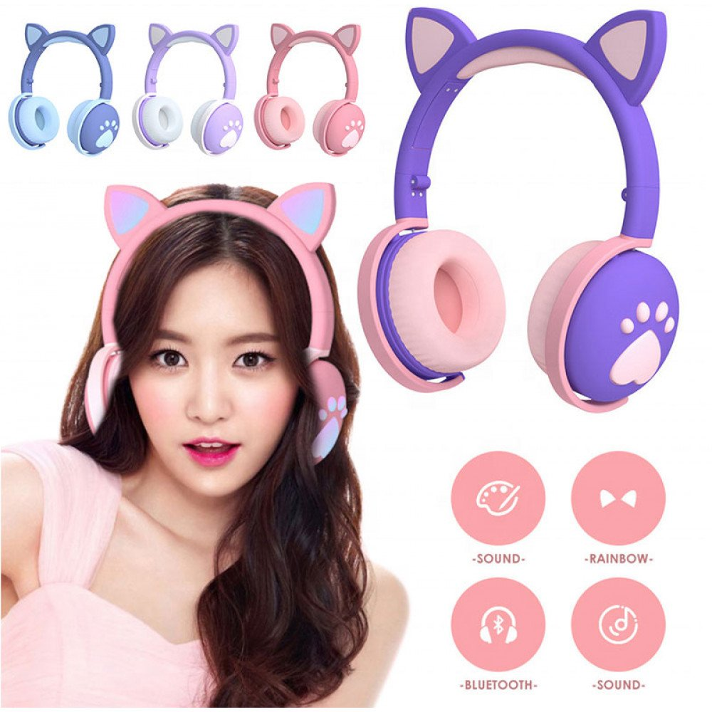 Wholesale Cat Ear and Paw LED Bluetooth Headphone Headset with Built in Mic, Luminous Light, Foldable, 3.5mm Aux In for Adults Children Home School (Purple)