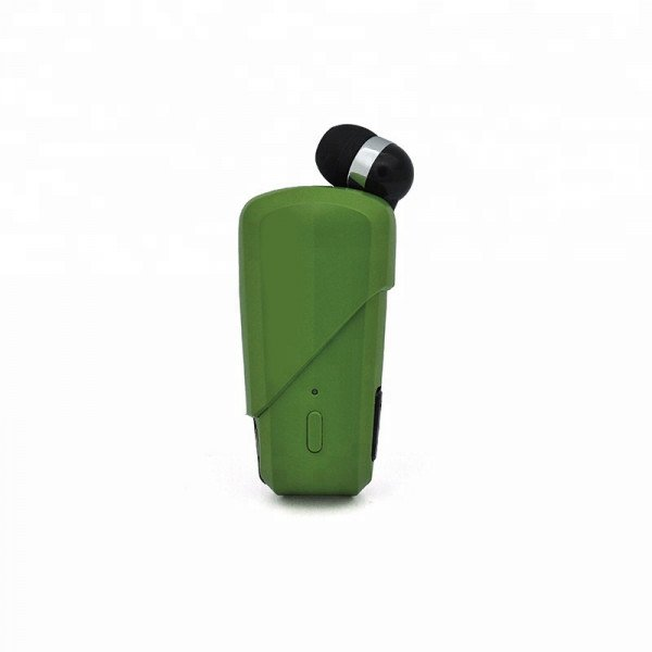 Wholesale Retractable Clip On Bluetooth Headset Earbud (Green)