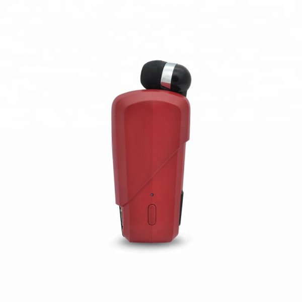 Wholesale Retractable Clip On Bluetooth Headset Earbud (Red)
