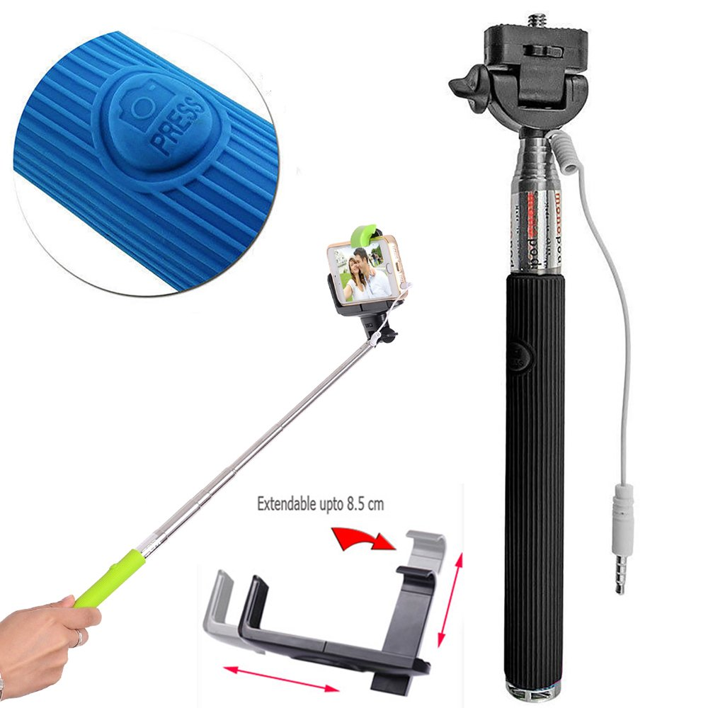 wholesale wired selfie stick with remote large clip black. Black Bedroom Furniture Sets. Home Design Ideas