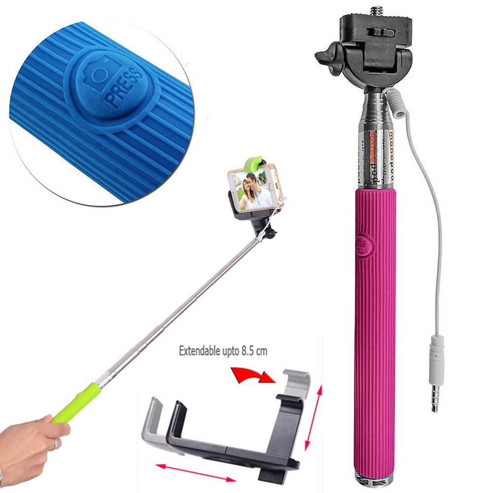 wholesale wired selfie stick with remote large clip hot pink. Black Bedroom Furniture Sets. Home Design Ideas