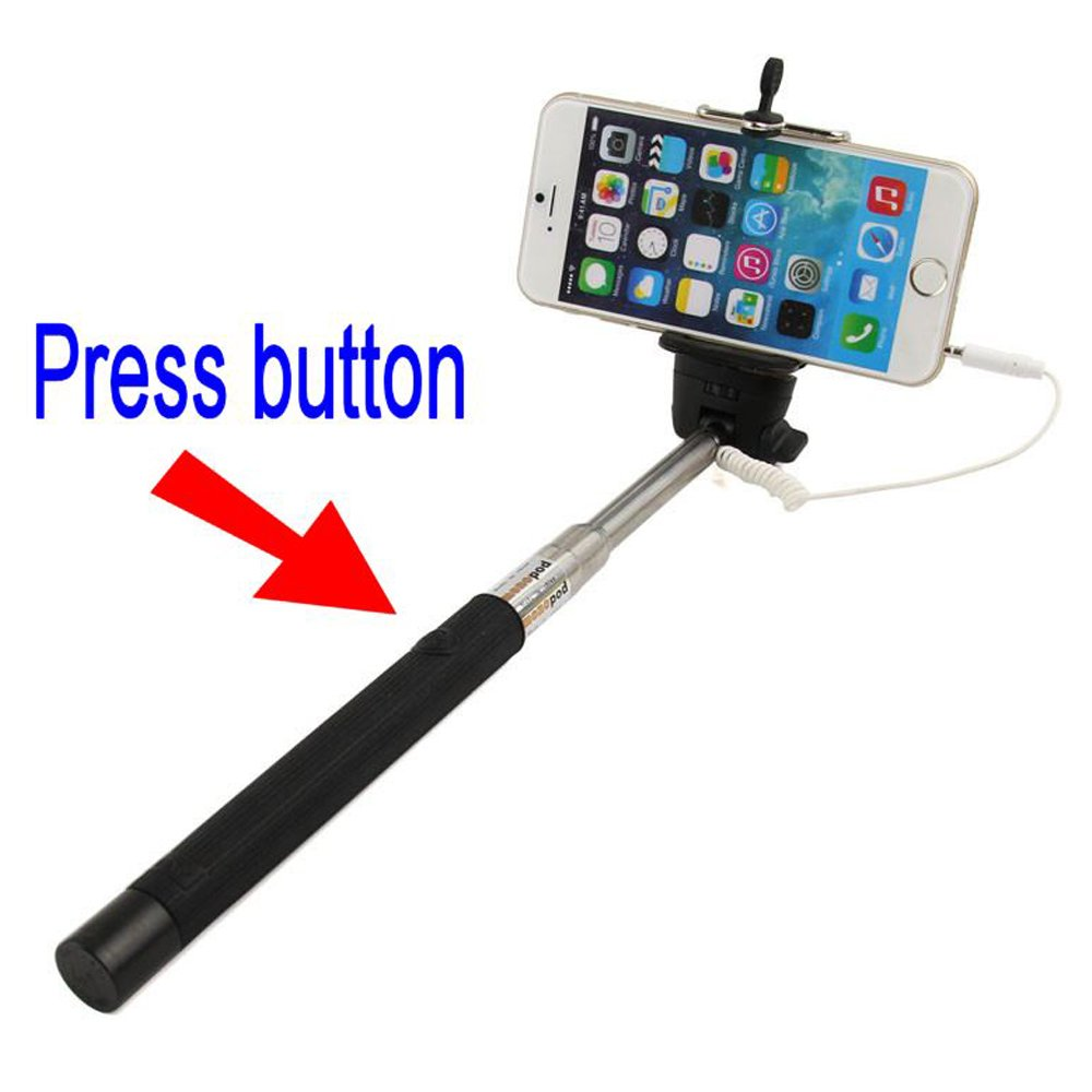 wholesale wired selfie stick with remote small clip blue. Black Bedroom Furniture Sets. Home Design Ideas