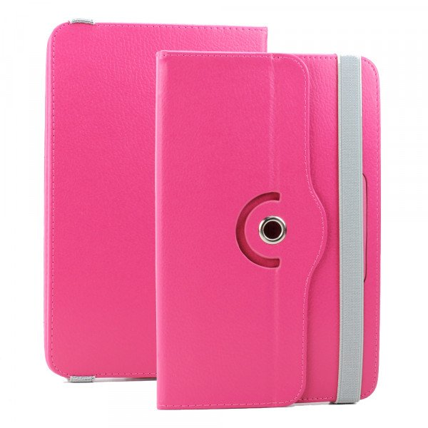 Wholesale Universal 7 inch 360 Premium Flip Leather Tablet Case (Hot Pink)