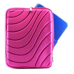 "Wave Design iPad Tablet Sleeve Pouch Bag with Zipper 10"" (Hot Pink)"